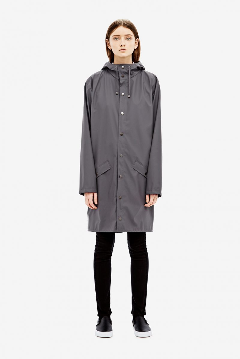 Rains waterproof long jacket black unisex | Kin & Co