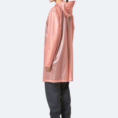 Rains transparent hooded coat foggy coral